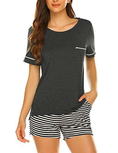 Womens Short Sleeve Shirt and Stripe Pajama Shorts Sleepwear Set Dark Grey ()