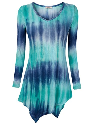 Timeson Womens T-Shirt Long Sleeve Round Neck Mixed Print Tunic Top Blouse with Irregular Hem Medium Blue