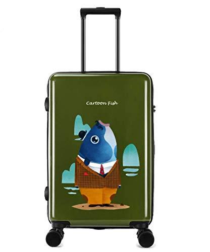 ユニバーサルホイールトロリーケースラゲッジスモールフレッシュ24インチスーツケース (Color : グリンー)   B07MCST8JP