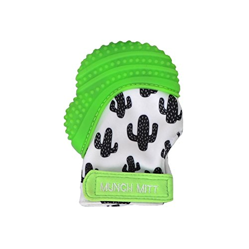 Munch Mitt Teething Mitten The Original Mom Invented Teething Toy- Teether Stays on Babys Hand for Pain Relief & Stimulation- Ideal with Handy Travel/Laundry Bag- Green Cactus