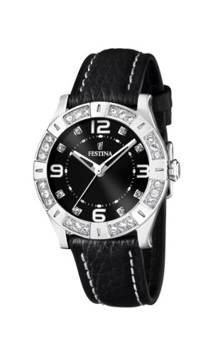 (Festina Ladies Watch F16537/2 with Black Leather Strap and Cz)