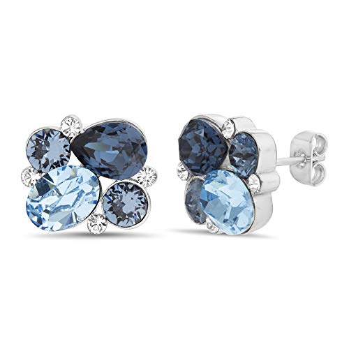 Devin Rose Cluster Stud Earring for Women in Stainless Steel made with Swarovski Crystal (Blue)