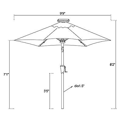 C-Hopetree 9 feet Market Outdoor Patio Umbrella with Crank Winder, Auto Tilt, Fiberglass Rib Tips