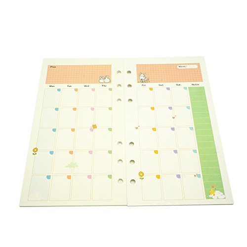6 Ring Binder Refill Monthly Plan,A6 Notebook Refill,Harphia (A6, Monthly Plan)
