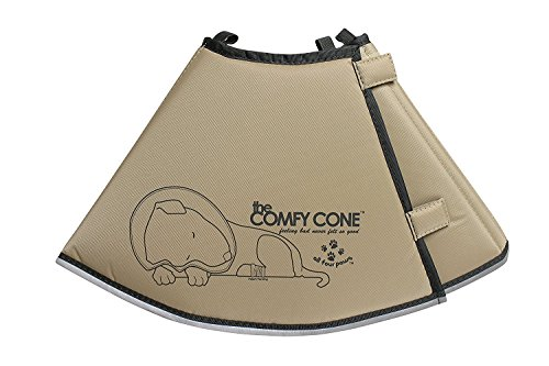 The Comfy Cone Pet Recovery Collar by All Four Paws, Small Long, Tan