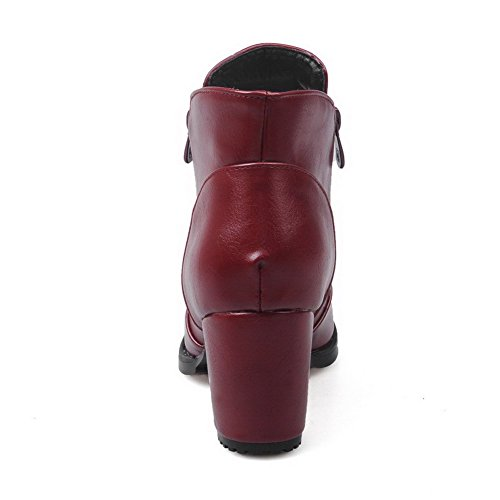 Closed Solid Women's Zipper Heels AgooLar Soft Material Pointed Toe Kitten Claret Boots qwBOaHaX