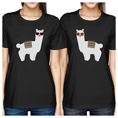 Femme Courtes Black Printing Llamas Taille shirt T Manches Sunglasses 365 Unique With IwZOqXX