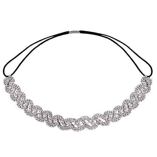 Lux Accessories Pave Crystal Pattern Stretch Elastic Rhinestone Bridal Headpiece Bridesmaid Hair ()
