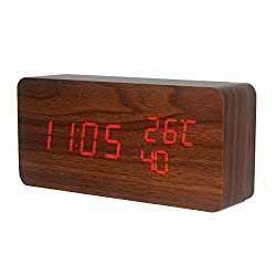 Wooden Alarm Clock, KABB Acoustic Control Digital Clock Brown Wood Grain Red LED Light Design with Time Date Week Temperature 3 Line Display Modes Desk Clock for Office and Home Decor (6 inches)