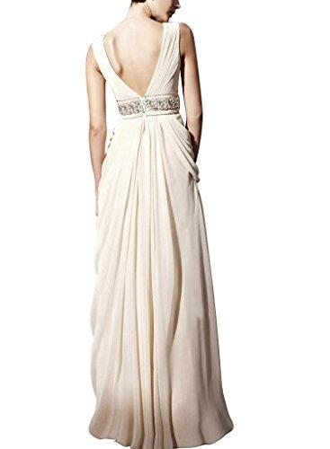 bodenlangen Mantel Perlen GEORGE Chiffon Ausschnitt BRIDE mit Applikationen Weiß Abendkleid Spalte Creme V qnRnFY1