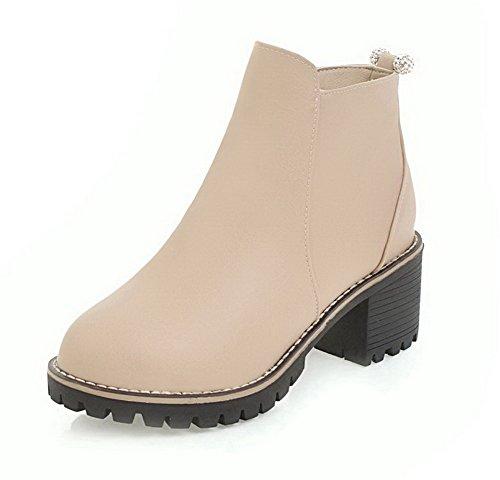 AllhqFashion Damen Mittler Absatz Rein Rund Zehe Reißverschluss Stiefel, Cremefarben, 37