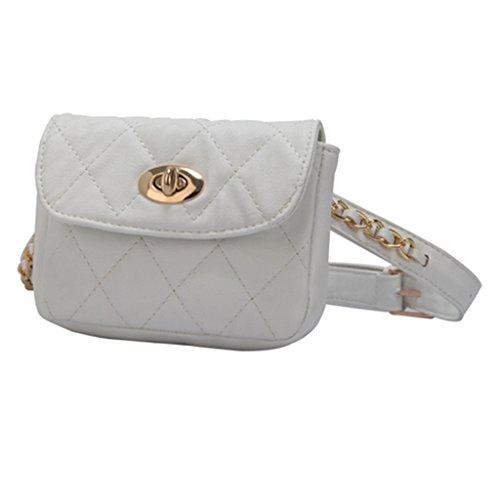 White Women Chain Waist Pattern Pack Fanny White Belt Bag Fanny Rhomboids Purse Travel JAGENIE 4CwqZSWpp