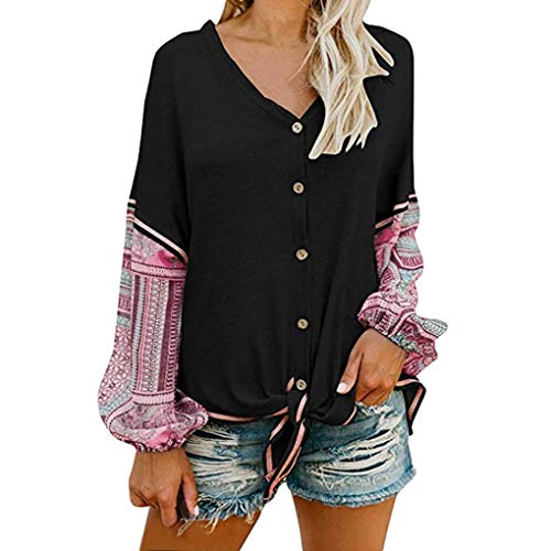 DEATU Womens Clearance! Ladies Teen Women V Neck Tie Knot Front Henley Shirt Button up Patchwork Cardigan Blouse(Black,M) from DEATU