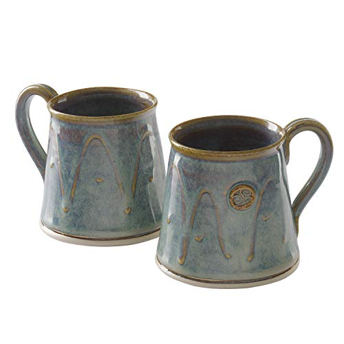 Castle Arch Pottery Set Of 2 Coffee/Tea Mugs, Handmade In Ireland, Ideal For Coffee and Tea, Use For Hot and Cold Beverages, Beautiful Design And Stamp, Dishwasher safe (Green ()