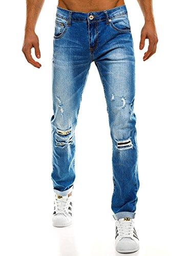 OZONEE Hombre Pantalones Vaqueros Pantalón Chándal Pantalones Deportivos Pantalones de Ocio Pantalón chándal Jogger Otantik 1805 Azul Claro _ Tmk-7717