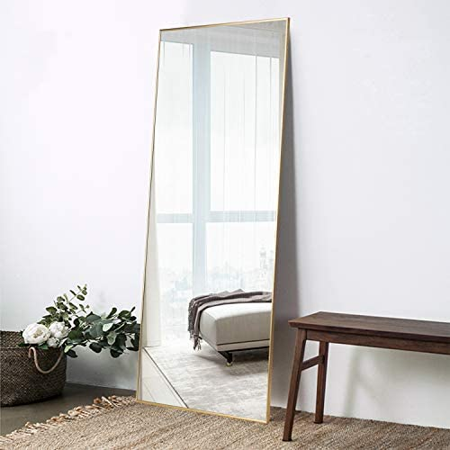 ElevensMirror Full Length Mirror Dressing Mirror 71″x24″ Large Rectangle Bedroom Floor Mirror Wall-Mounted Mirror Hanging Leaning Against Wall Gold 71″ x 24″