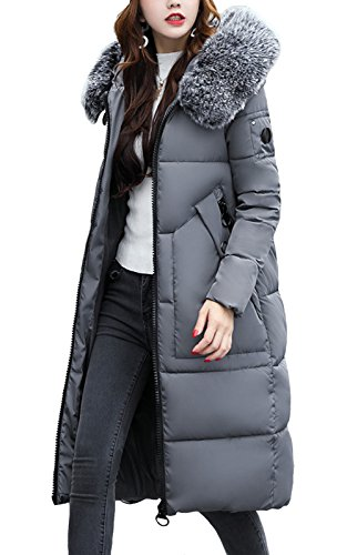 Down 8 10 Hood 6 Jacket Slim Thick Padded Coat Warm UK Bubble 14 12 Gray Quilted LANOMI Puffer with Womens Ladies wqIOSFnZTa
