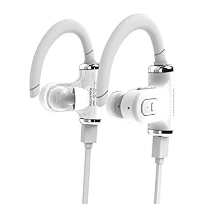 Stereo Wireless Earbuds Bluetooth V4.0 with Microphone Waterproof Sport - White