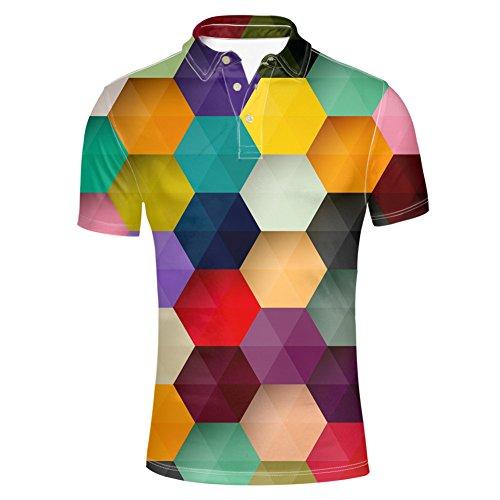 Hugsidea Hexagon Colorful Mens Pique Polo Shirst Summer Fit Slim Short Sleeve Classic Modern Poloshirt