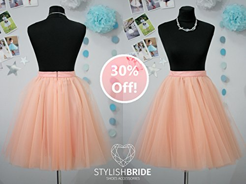 83 Sun Flared Super Lush Soft Peach Tulle Skirt for Women, Midi Tulle Skirt, Tulle Skirt Adult, Wedding Bridesmaid Skirt, Engagement Skirt by StylishBrideAccs