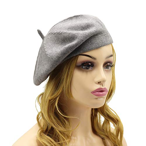 French Beret Hat,Reversible Solid Color Cashmere Beret Cap for Womens Girls Lady Adults (Grey1) ()