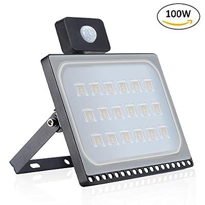 Missbee 100W LED Motion Sensor Flood Lights, Thinner Lighter Outdoor Work Light, Waterproof IP67, 11000LM, Super Bright PIR Security Lights, Warm White (2800-3000K)