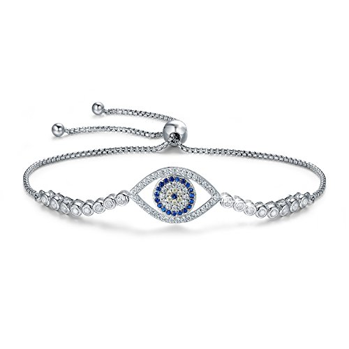 BAMOER 925 Sterling Silver Expandable Lucky Blue Evil Eye Chain Bracelet with Sparkling Cubic Zirconia for Women Style 6 (Turquoise Hamsa Hand Bracelet)