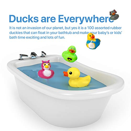 Kicko Assorted Rubber Duckies - 100 PC Bath Floater – Baby Showers Accessories – Bulk Ducks for Kids – Easter Party, Halloween Party Favors, Rubber Ducks Supplies and Favors by Kicko (Image #3)