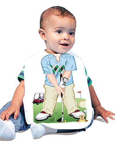 (Just Add A Kid Baby Boy's Golf Action 418 Baby Bib 0-6 Months White)