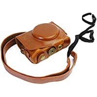 CEARI Vintage Leather Camera Case Bag with Strap for Canon Powershot G7X, G7X Mark II DSLR Camera - Brown