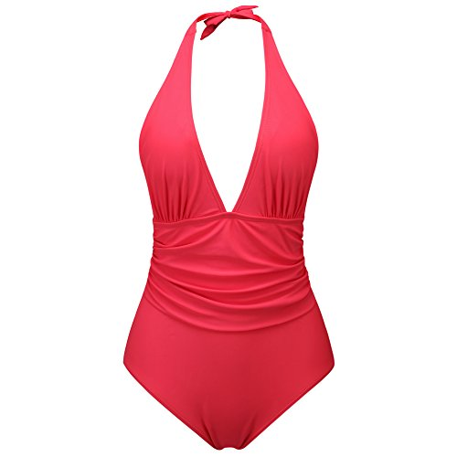 (zeraca Women's Shirred Detail Plunge Deep V Neck Halter One Piece Swimsuit Bathing Suit (Madly Melon, M10))
