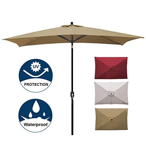 Blissun Rectangular Patio Umbrella Outdoor Market Table Umbrella with Push Button Tilt and Crank, 6.5 by 10 Ft ()