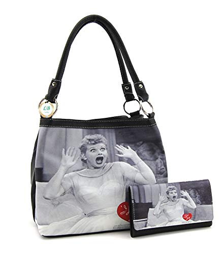 - I love Lucy Medium Purse and Wallet Set, Two Way Bag (Black)