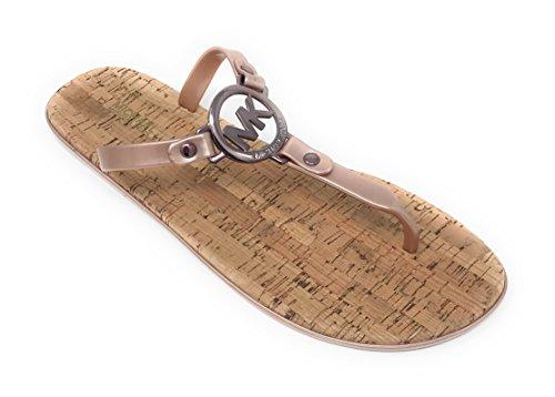 (Michael Kors MK Charm Jelly PVC Flip Flop Sandal, Sable (7M))
