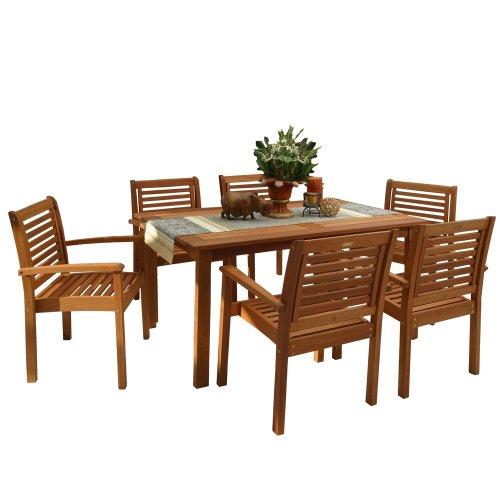 Amazonia Milano 7-Piece Patio Rectangular Dining Table Set | Eucalyptus Wood |...