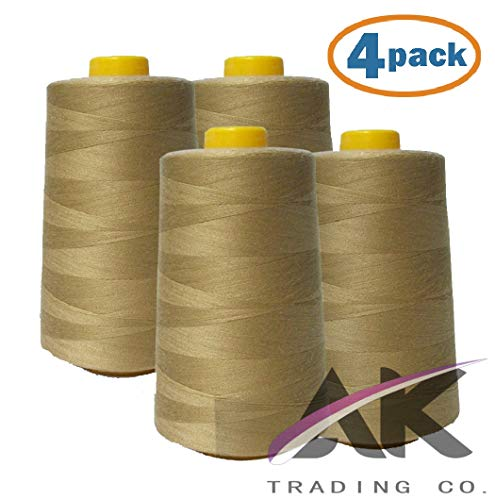 AK Trading 4-Pack Camel All Purpose Sewing Thread Cones (6000 Yards Each) of High Tensile Polyester Thread Spools for Sewing, Quilting, Serger Machines, Overlock, Merrow & Hand Embroidery.