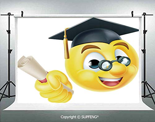 Photography Backdrops Emoji Emoticon Smiley with Glasses and Cap Diploma Hardworking Student 3D Backdrops for Photography Backdrop Photo Background Studio Prop -