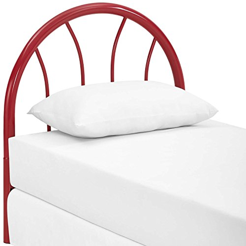 (Modway Damaris Arched Rustic Farmhouse Style Steel Metal Twin Headboard in Red)