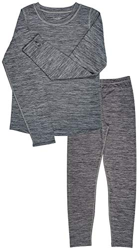 Trimfit Girls Space Dye Long-Sleeve w/Thumbholes Long Underwear Thermal Set, Grey, X-Large (14-16)