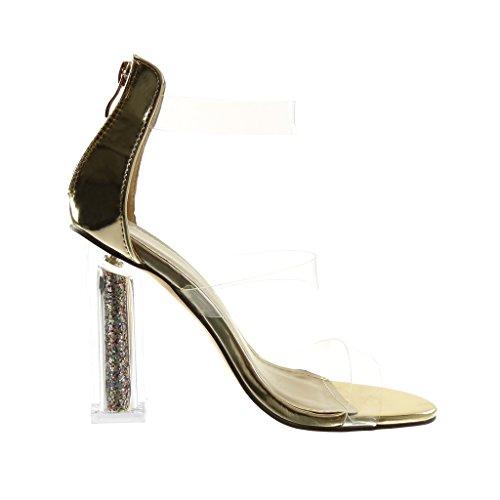 Angkorly Damen Schuhe Sandalen Pumpe - Disco - Transparent - Glitzer - String Tanga Blockabsatz High Heel 10.5 cm Gold
