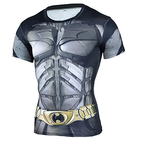 Mens Short Sleeve Dri-fit Compression Workouts Shirt Batman Costume Shirt -