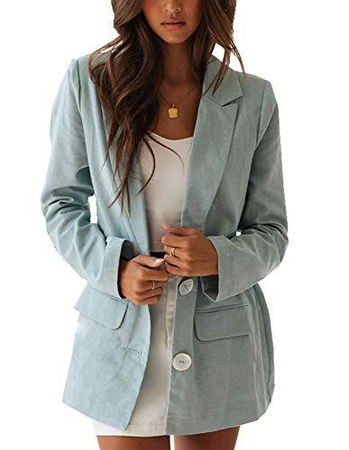 Ofenbuy Womens Casual Long Blazer Loose Fit Long Sleeve Linen Cardigan Jacket Boyfriend Blazers Green