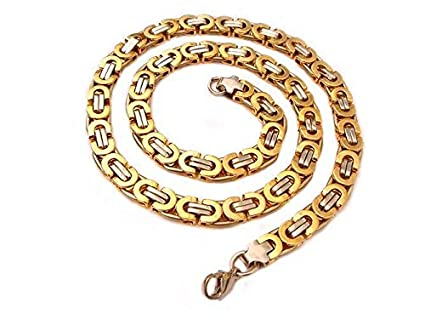 FidgetGear 8mm Stainless Steel Silver Gold Black Flat Byzantine Box Chain Necklace 18-30 Gold 24inch