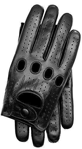 Riparo Genuine Leather Full-finger Driving Gloves (Small, Black)