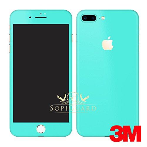 (SopiGuard Vinyl Skin for iPhone 7 Plus 5.5 inch Carbon Fiber Full Body Precision Edge-to-Edge Coverage Easy-to-Apply Vinyl Sticker Skin (3M Satin Tiffany Blue))