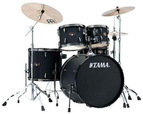 tama-imperialstar-5-piece-complete-kit-blacked-out-black-with-meinl-hcs-cymbals-blacked-out-black