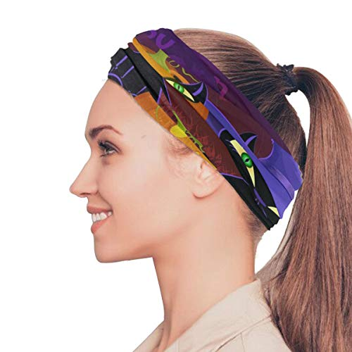 Gednix Black Cat Witches for Halloween Elastic Headbands Head Wrap Shawl Sports Sweatband Face Mask Magic Scarf Hair Accessories Bands Ties for Women Men Girls Running Workout Fitness -