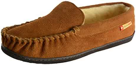 alpine swiss Yukon Mens Suede Shearling Slip On Moccasin Slippers