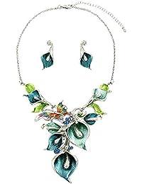 Statement Calla Lily Seafoam Mint Blue Crystal Butterfly Silver Chain Necklace Flower Earrings Set