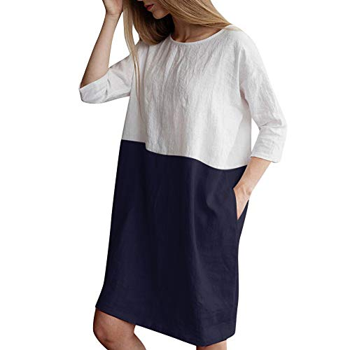 Mimfor 2019 Women Casual Patchwork 1/2 Sleeved Cotton Linen Loose Pockets Tunic Dress (Navy,Medium) ()